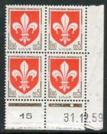 FRANCE ( COINS DATES ) : Y&T N°  1230  COIN  DATE  DU  31/12/1959  TIMBRES  NEUFS  SANS  TRACE  DE  CHARNIERE . - 1960-1969