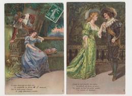 2 Cartes Fantaisie Gaufrée / Couple En Costume XVIIè - Paare