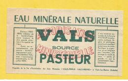 VALS LES BAINS ETIQUETTE EAU MINERALE ARDECHE WATER LABEL SOURCE PASTEUR - Labels
