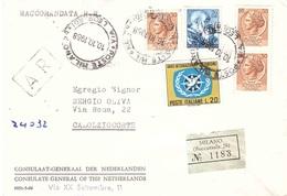 RACCOMANDATA ANN.MILANO  28 VIA LEOPARDI  CONSULATE GENERAL OF THE NETHERLANDS - 1961-70: Storia Postale