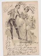 Carte Fantaisie Dessinée Gaufrée  / Couple , Scènes Diverses - Couples