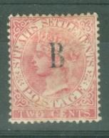British PO In Siam (Bangkok): 1882/85   QV 'B' OVPT    SG15    2c   Pale Rose   MH - Gran Bretaña (antiguas Colonias Y Protectorados)