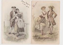2 Cartes Fantaisie Dessinées  / Couple , Costumes XVIIIè - Paare