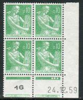 FRANCE ( COINS DATES ) : Y&T N°  1231  COIN  DATE  DU  22/12/1959  TIMBRES  NEUFS  SANS  TRACE  DE  CHARNIERE . - Coins Datés