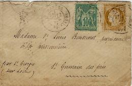 1877- Enveoppe Carte De Visite Affr. N° 59 + 65  ( N / B )  De Nantes à St Germain Des Prés ( Loire Atl. ) - Marcophilie (Lettres)
