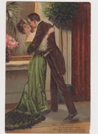 Carte Fantaisie Dessinée Gaufrée / Couple Amoureux Valsant / Wenn Still Im Eck......Die Liebe Hymnen Singt ! - Couples