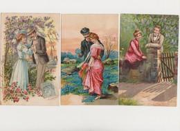 3 Cartes Fantaisie Gaufrées / Couples Amoureux - Couples