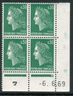 FRANCE ( COINS DATES ) : Y&T N°  1536  COIN  DATE  DU  06/06/1969  TIMBRES  NEUFS  SANS  TRACE  DE  CHARNIERE . - 1960-1969