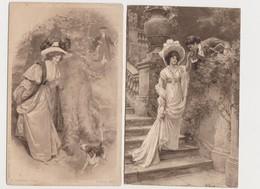 2 Cartes Fantaisie Dessinées. P.TARRANT. Photogravure / Baise Main ; Rencontre Dans Le Bois - Illustrateurs & Photographes