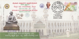 INDIA  2018  Mahatma Gandhi Statue  Mysuru City Corporation  Special Cover  # 20718    D Inde  Indien - Mahatma Gandhi