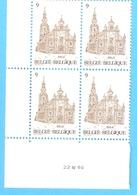 Bloc De 4 Timbres-coin Daté-1986 COB N°2217-Tourisme-Belgique-Zele-St Ludger Kerk-Eglise - Blocks & Sheetlets 1962-....