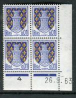 FRANCE ( COINS DATES ) : Y&T N°  1351A  COIN  DATE  DU  26/09/1963  TIMBRES  NEUFS  SANS  TRACE  DE  CHARNIERE . - Coins Datés