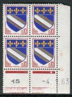 FRANCE ( COINS DATES ) : Y&T N°  1353  COIN  DATE  DU  04/01/63  TIMBRES  NEUFS  SANS  TRACE  DE  CHARNIERE . - 1960-1969
