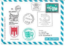 1670c: Heimatbeleg 6812 Meiningen/ 6800 Feldkirch 1974, Ballonbeförderung - Feldkirch