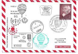 1670h: Heimatbeleg 4890 Frankenmarkt 1973, Ballonbeförderung - Vöcklabruck