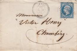 LETTRE. 1863. PERLÉ T22 HAUTE-SAVOIE LE BIOT. GC 482 POUR CHAMBERY. TRES RARE PERLÉ + GC - Marcophilie (Lettres)