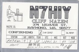 US.- QSL KAART. CARD. N7HIY. CLIFF HAZEN, RAYMOND, WASHINGTON. - Radio-amateur