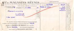 37-1004   1928 SOCIETE ANONYME DES MAGASINS REUNIS A PARIS - M. ALLEQ A AUZON - Lettres De Change