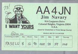 US.- QSL KAART. CARD. AA4JN. JIM NAVARY, COLONIAL HEIGHTS, VIRGINIA, U.S.A.. I WANT YOURS - Radio-amateur