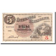 Billet, Suède, 5 Kronor, 1951, 1951, KM:33ah, TB - Suède