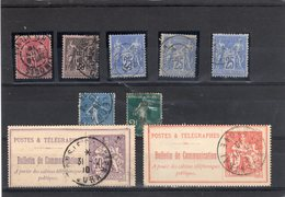 France - Lot De 5 Sages  + 2 Timbres Télégraphes (N°22 Et N°29) - Environ Cote 40 Euros - Frankreich