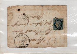 France - Devant De Lettre - VERTUS (Marne) CAD Type 13 / Grille Sur N° 4 - Du 28/08/1850 - Indice 18 - Marcophilie (Lettres)