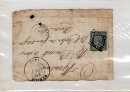 France - Devant De Lettre - VERTUS (Marne) CAD Type 13 / Grille Sur N° 4 - Du 28/08/1850 - Indice 18 - Poststempel (Briefe)