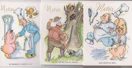 Lot 3 Menus Humoristiques  1966  (cochons) - Menus