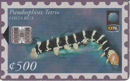 TARJETA DE COSTA RICA CON UN SELLO DE UNA ORUGA  (STAMP) - Sellos & Monedas