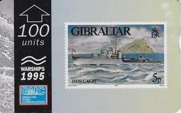 Nº 40 TARJETA DE GIBRALTAR DE UN SELLO CON UN BARCO 100 UNITS  NUEVO-MINT (STAMP-SHIP) - Sellos & Monedas