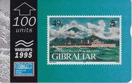 Nº39 TARJETA DE GIBRALTAR DE UN SELLO CON UN BARCO FLL SAVORGNAN DE BRAZZA (STAMP-SHIP) - Francobolli & Monete