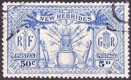 NEW HEBRIDES 1925 5d (50c) Ultramarine SG47 FU - Usati