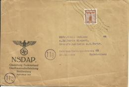1944 NSDAP Dienstbrief Von Reichenberg Nach Gablonz Sudetenland - Germany