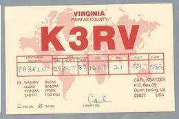 US.- QSL KAART. CARD. K3RV. CARL KRATZER, DUNN LORING, VIRGINIA, FAIRFAX COUNTY. U.S.A.. - Radio-amateur