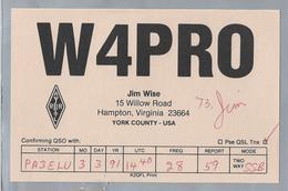 US.- QSL KAART. CARD. W4PRO. JIM WISE, HAMPTON, VIRGINIA, YORK COUNTY. U.S.A.. ARRL. - Radio-amateur