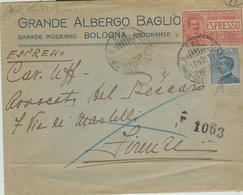 """""""GRANDE ALBERGO BAGLIONI - BOLOGNA"""",BUSTA ESPRESSO 1921- TELEGRAFO FIRENZE ESPRESSI - Historical Documents"""