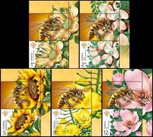 ROMANIA, 2019, Melliferous Flowers, Plants, Bees, Insects, Set Of 5 + Label, MNH (**); LPMP 2243 - 1948-.... Republics