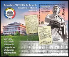 ROMANIA, 2019, University POLITEHNICA Of Bucharest, Statues, Souvenir Sheet, MNH (**); LPMP 2244 - 1948-.... Republics