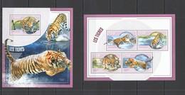ST2755 2014 NIGER FAUNA ANIMALS WILD CATS TIGERS LES TIGRES 1KB+1BL MNH - Big Cats (cats Of Prey)