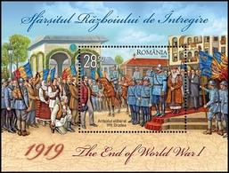 ROMANIA, 2019, 1919, THE END OF WORLD WAR I, Souvenir Sheet, MNH (**); LPMP 2246 - 1948-.... Republics