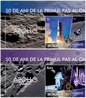 ROMANIA, 2019, First Step On The Moon, Anniversaries, Moon Landing, Space, Astronauts, Set Of 2+lab, MNH (**); LPMP 2247 - 1948-.... Republics
