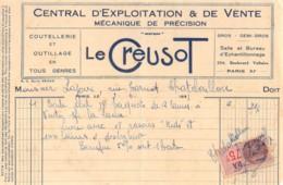 39-0457     1937 COUTELLERIE ET OUTILLAGE EN TOUS GENRES LE CREUSOT A PARIS - M. LAJOUX A CHATELAILLON   FACTURETTE - 1900 – 1949