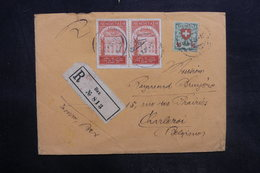 SUISSE - Enveloppe En Recommandé De Bex Pour La Belgique En 1924 , Affranchissement Plaisants - L 36430 - Marcofilie