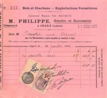 39-0848     1936 BOIS ET CHARBONS EXPLOITATIONS FORESTIERES M PHILIPPE A INGRE - M. BOUDET   FACTURETTE - France