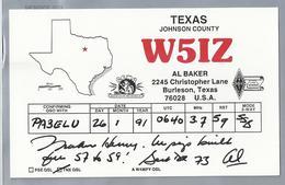 US.- QSL KAART. CARD. W5IZ. AL BAKER, BURLESON, TEXAS, JOHNSON COUNTY. U.S.A.. ARRL.QCWA. - Radio-amateur
