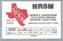 US.- QSL KAART. CARD. NR5M. GEORGE A. DeMOND, HOUSTON, TEXAS, HEMPSTEAD, WALLER COUNTY. U.S.A.. TDXS. - Radio-amateur