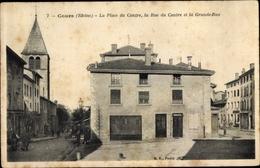 Cp Cours Rhône, La Place Du Centre - France