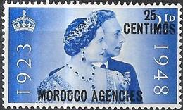 MOROCCO AGENCIES 1948 Silver Wedding - 25c. On 2 1/2 D - Blue MNH (Spanish Currency) - Postämter In Marokko/Tanger (...-1958)