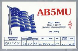 US.- QSL KAART. CARD. AB5MU. SCOTT KING, NETTLETON, MISSISSIPPI, LEE COUNTY. U.S.A.. ARRL. - Radio-amateur