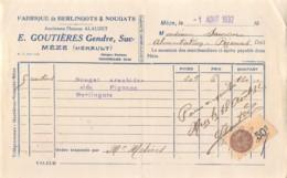 39-1655     1932 FABRIQUE DE BERLINGOTS ET NOUGATS E GOUTIERES GENDRE A MEZE - M. SAUROU A PEZENAS   FACTURETTE - 1900 – 1949